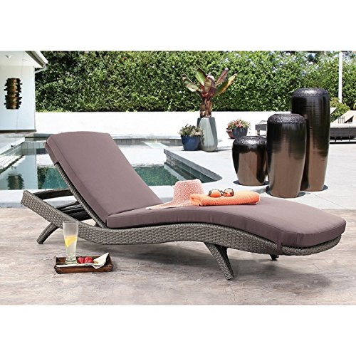 Abbyson Living Arthur Outdoor Wicker Chaise Lounge in Gray