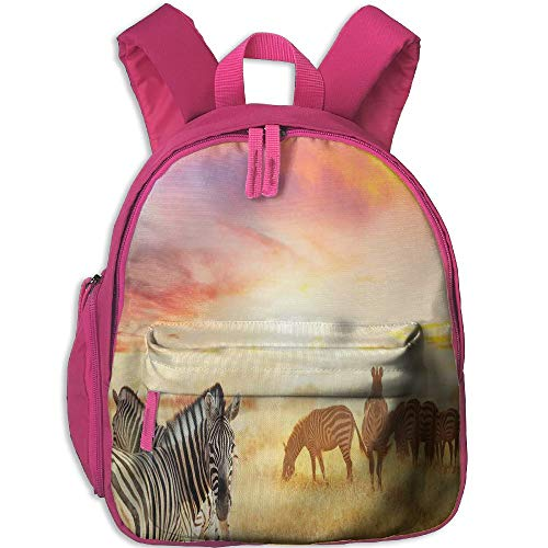 Haixia Students Boy's&Girl's Bookbags with Pocket Safari Decor African Zebras at Fairy Sunset On The Grassland Wildlife Adventure Theme in The Nature Golden Red