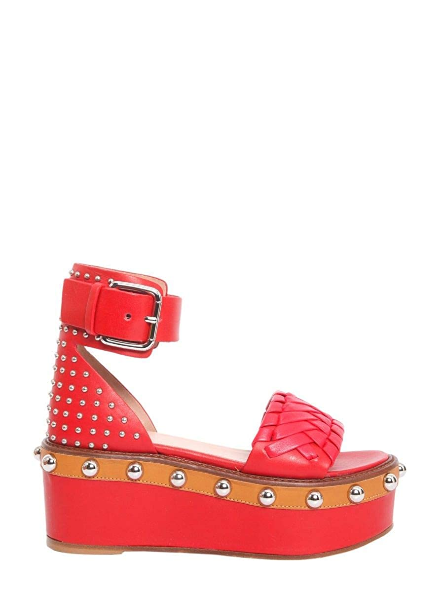 - Red Valentino Women's PQ0S0A90EBAFU7 Red Leather Sandals