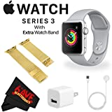 6Ave Apple Watch Series 3 42mm Smartwatch (GPS Only, Silver Aluminum Case, Fog Sport Band) + WATCH BAND GOLD MESH 42MM + MicroFiber Cloth Bundle