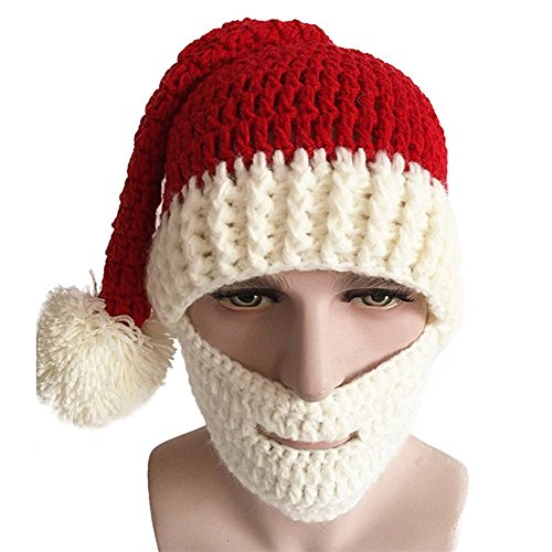 Christmas Knitted Crochet Beanie Santa Hat Windproof Winter Costume Beard Hat (White Beard) (Funny Santa Costumes)