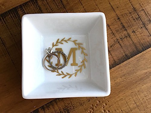 Laurel Monogram Ring Dish - Gold Engagement Gift - Anniversary - For Bridesmaid - Valentines Day - Jewelry Holder
