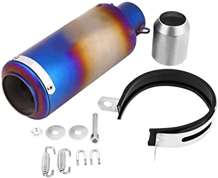 qiilu Motorcycle Silencer Exhaust Tailpipe Tail Pipe Tip Universal Stainless Steel