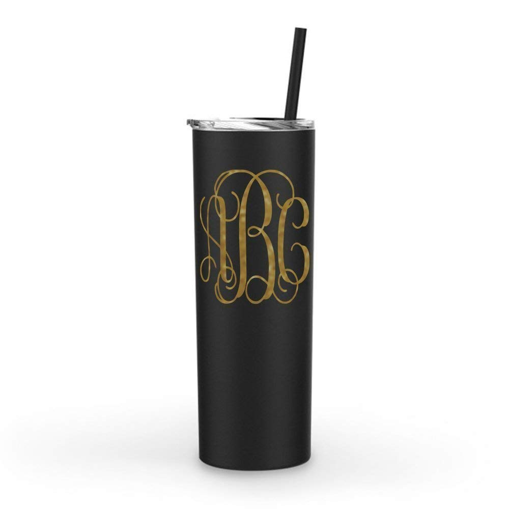 Monogrammed Stainless Steel Skinny Tumbler | 20oz Matte Black | with Personalized Custom Vinyl Decal