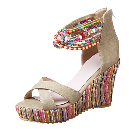 Charm Foot Womens Bohemia Style Wedge Platform Beaded Zipper Sandals Beige Rh96zlRza