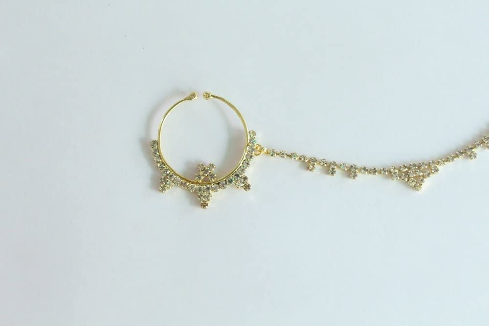 Wedding Crystal Nose Ring Chain Indian Bridal Nose Ring Nath Gold