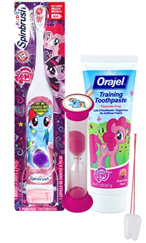 "My Little Pony ""Rainbow Dash"" 3pc Bright Smile Oral Hygiene Set! Turbo Spin Toothbrush, Toothpaste & Brushing Timer! Plus Bonus ""Remember to Brush"" Visual Aid!"