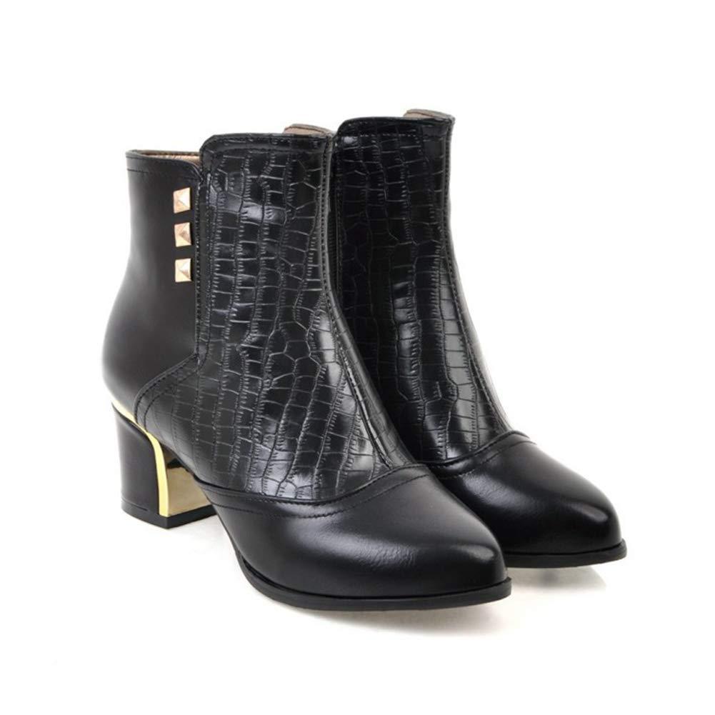 Btrada Women's Rivet Ankle Short Ankle Rivet Boots Fashion Pointy Toe Block Chunky Heel Booties Side Zipper Pumps B07H89KXGF Bootie 0c8c6b