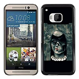 Paccase / SLIM PC / Aliminium Casa Carcasa Funda Case Cover para - Evil Goth Skull Girl - HTC One M9