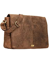 DH Rohtaang Leather Messenger Bag for men/women Leather Laptop Messenger Briefcase Satchel Brown