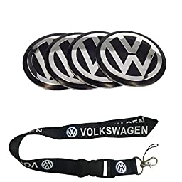 New 1pcs Volkswagen Keychain Lanyard Badge Holder + 4pcs set 56.5mm Black Colour VW Wheel Logo Cap Badge Emblem Sticker Fit For Volkswagen