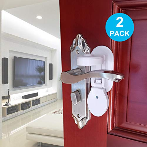 Door Lever Locks, TUSUNNY Improve Child Proof Door Handle Locks, Baby Proofing Door Knob Locks, Prevents Toddlers from Opening Doors with 3M Adhesive, No Tools Needed(2Packs, Two Sides Operation)
