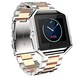 Learnin Watch Band, Stailess Steel Bracelet Strap Watch Band for Fitbit Blaze Smart Watch (Rose Gold / Silver)