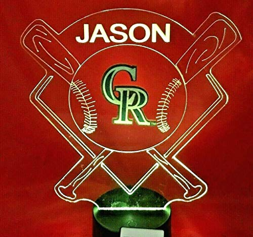 - Rockies Light Up Lamp LED Personalized Free Colorado Baseball Night Light Illusion Lamp LED Table Lamp, Our Newest Feature - It's Wow, with Remote, 16 Color Options, Dimmer, Free Engraved, Great Gift