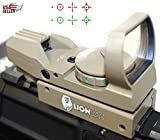 Red Dot Sight Reflex Green Holographic Scope Tactical Rifle Mount 20mm Rails (Tan)