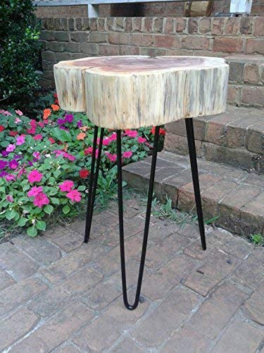 Thick Red Cedar Cookie Live Edge Table on black hairpin legs – Natural Beeswax Finish 12-14 diameter