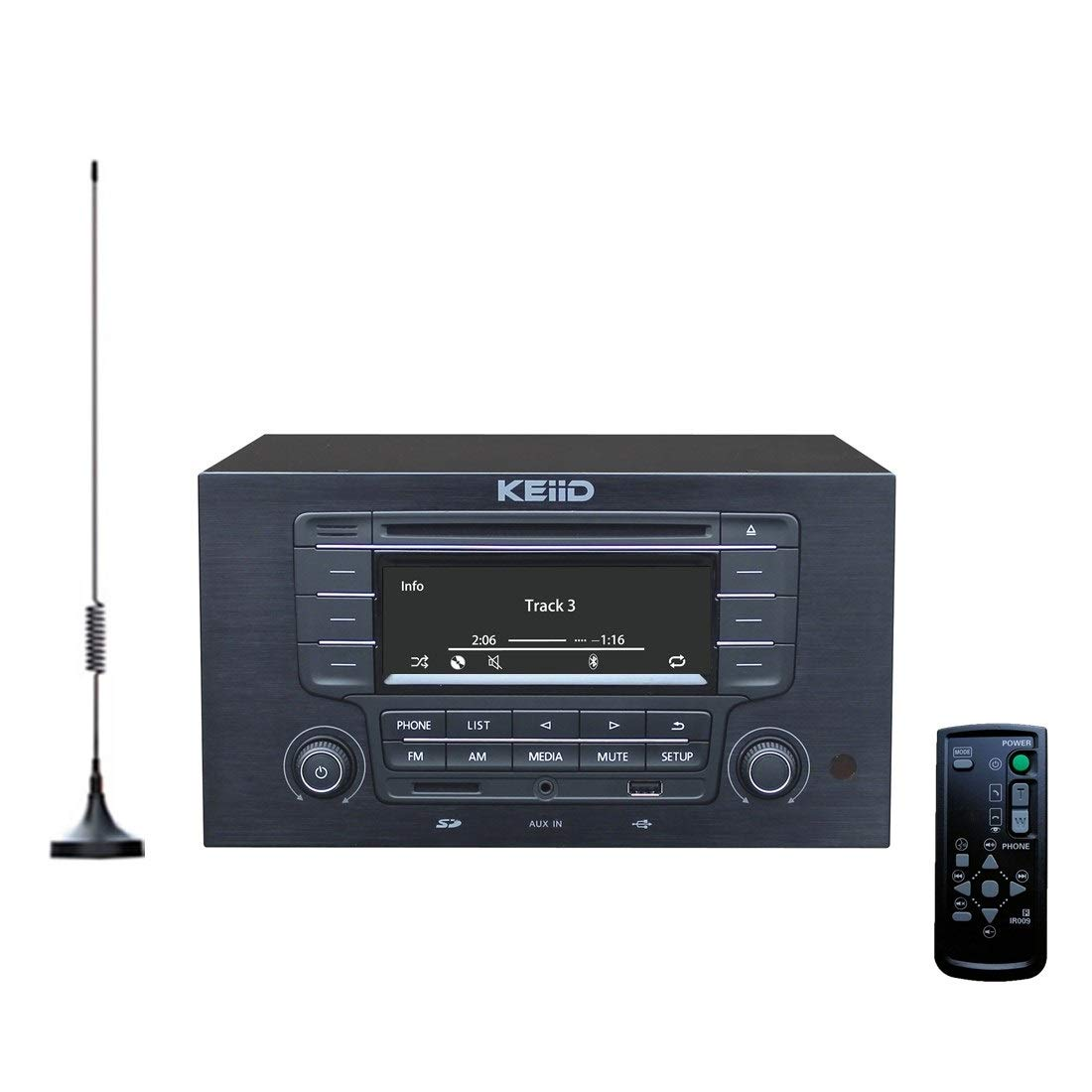 KEiiD CD Player with 4-Way 4x20W Amplifier 4.0 Output (No Speakers Inside) ,Built-in Bluetooth Receiver USB SD MP3 3.5mm AUX Line-in Remote Control LCD Display, RCA and 3.5mm Headphone Jack Output by KEiiD