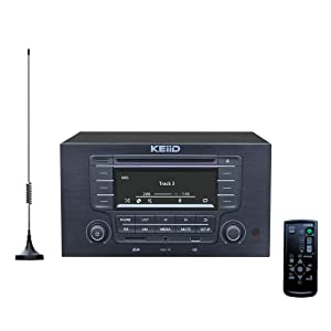 KEiiD CD Player with 4-Way 4x20W Amplifier 4.0 Output,Built-in Bluetooth Receiver USB SD MP3 3.5mm AUX Line-in Remote Control LCD Display, RCA and 3.5mm Headphone Jack Output