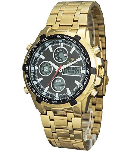 Timiep Herren Stahl Digital Sport Chronograph Armbanduhr geschrieben C1298-gold Wasser Proof