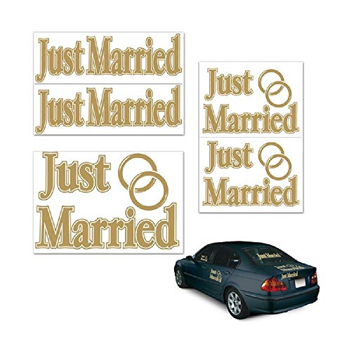 Just Married Auto Clings - Bargain World Just Married Auto-Clings (5/pkg) (with Sticky Notes)