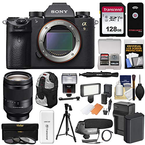 Sony Alpha A9 Wi-Fi 4K Digital Camera Body with 24-240mm Lens + 128GB Card + Battery & Charger + Backpack + Filters + LED/Flash + Mic + Tripod + Kit