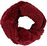 Sakkas 16106 - Dalien Short Length Two Sided Faux Fur Ribbed Cable Knit Infinity Scarf - Burgundy - OS