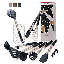 REMIHOF Silicone Kitchen Utensil 9-Piece Set of Nonstick Silicone and Stainless Steel – Spatula Turner Ladle Pasta…