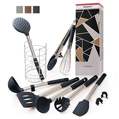 REMIHOF Silicone Kitchen Utensil 9-Piece Set of Nonstick Silicone and Stainless Steel - Spatula Turner Ladle Pasta Server Whisk Tongs with Holder - Best Culinary Gift Set (9 PCS, DarkGrey)