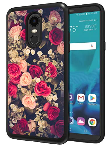 ANLI LG Stylo 4 Phone Case, LG Stylo 4 Plus Case, LG Q Stylus Case, [Fashion Floral Design] Drop Protection Hybrid Dual Layer Armor Protective Case Cover for Girls and Women Flowers Black