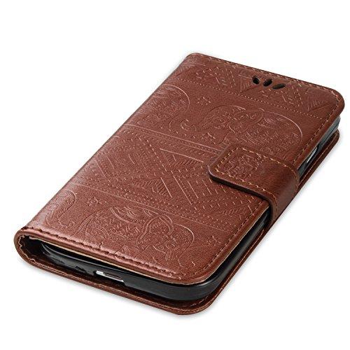 Ukayfe Flip funda de cuero PU para Samsung I9505 Galaxy S4, Leather Wallet Case Cover Skin Shell Carcasa Funda para Samsung I9505 Galaxy S4 con Pintado Patrón Diseño, Cubierta de la caja Funda protect Elefante-Marrón