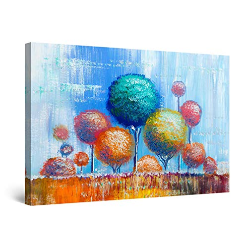 Urban Abstract Canvas Giclee Art - STARTONIGHT Canvas Wall Art Abstract Rainbow Trees Painting Teal Orange Blue Framed 32 x 48 Inches
