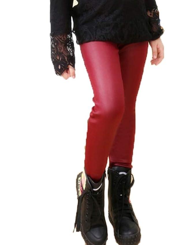 Suncaya Niña Leggins PU Cuero Caliente Leggings Cintura Elástica Pantalones Otoño e Invierno: Amazon.es: Ropa y accesorios
