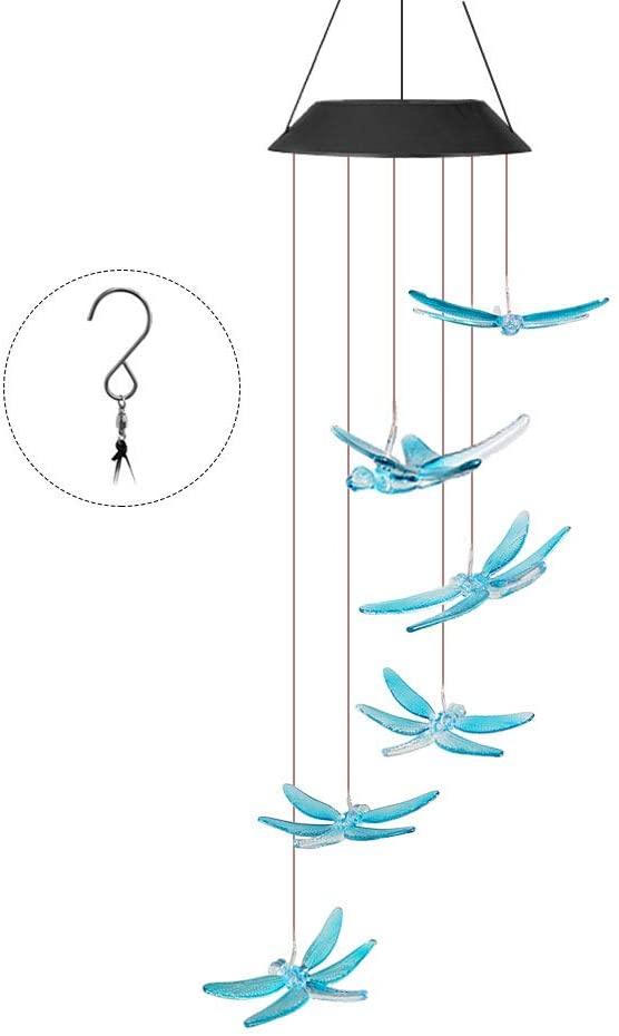 Outill Dragonfly Solar Wind Chimes Outdoor, Waterproof Color Changing LED Light Wind Chime for Home, Bedroom, Party, Patio, Night Garden Decor