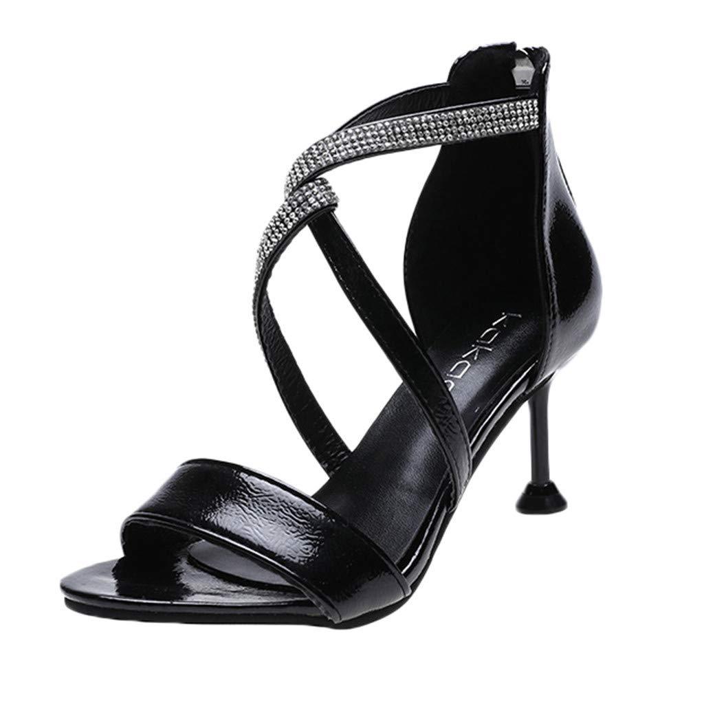 Fastbot Women's Summer Sandals Open Toe Casual Comfort Fashion Ankle Strap Dress Rhinestone Zipper High Heels Black