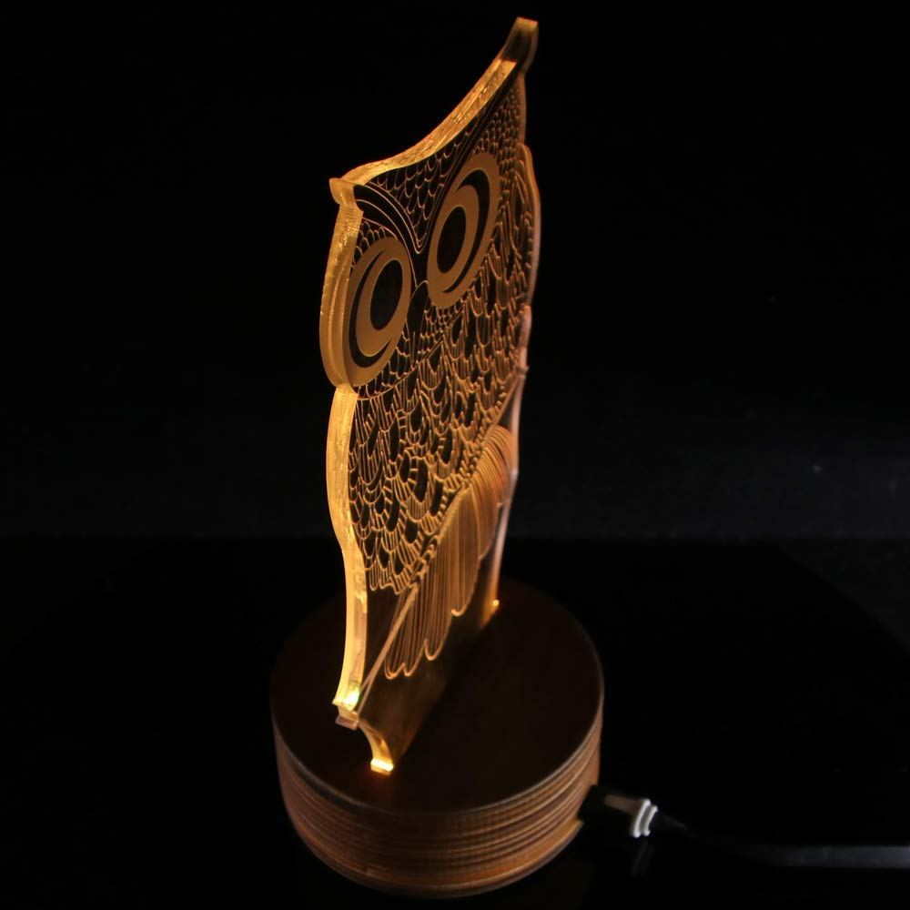 Novelty Lamp, 3D LED Lamp Optical Illusion Owl Night Light, USB Powered Remote Control Changes The Color of The Light, Furniture Desk Lamp Home Decoration Toy,Ambient Light by LIX-XYD (Image #5)
