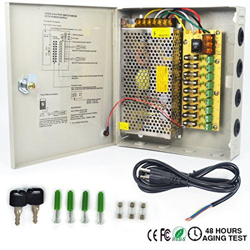 Distributed Power Supply Box LETOUR 9 Channels Output DC 12V Security Camera Power Supply Box LED Strip Power Splitter With Upgraded Circuit Board(9CH 12.5A 150W)