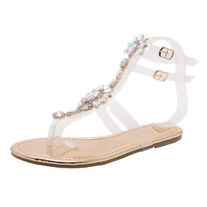 high fashion new concept vivid and great in style ShenPr Women Flat Crystal Sandals Rhinestone Diamond Shoes Bohemia T-Strap  Sandals Peep-Toe Beach Sandals
