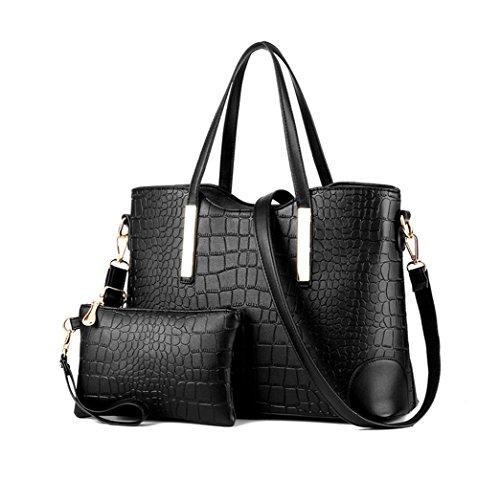 LIKE IT LOVE IT Purse Sets for women Top handle Handbag Set Shoulder Bag Tote Bag Purse and Wallet(Black) (Bag Wallet Purse Tote)