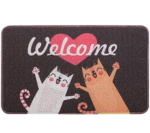 Pragovle Welcome Door mat Fanny Rugs for Outdoor and Indoor Home and Garden (18'X30'(45cmX75cm), 2Welcome Cat)