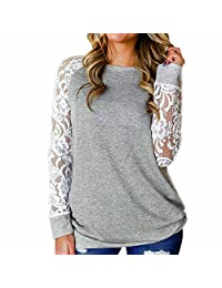 Women Lace Patchwork Long Sleeve Blouse Casual Crew Neck Loose Auutmn Shirts Tops