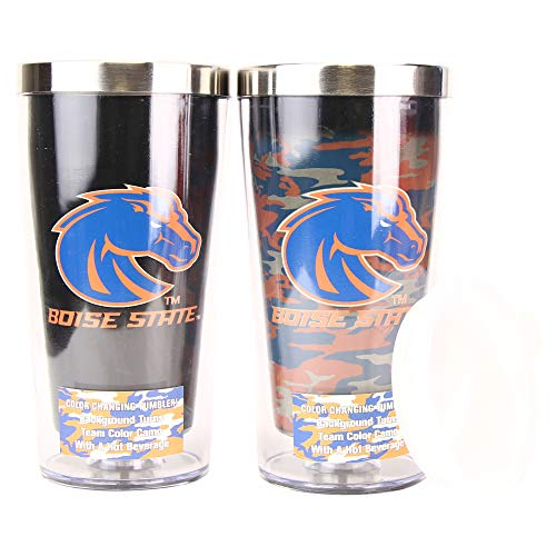 NCAA 16 Ounce Color Changing Camo Travel Tumbler 2 Pack with Lids (Boise State Broncos)