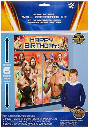 Amscan Grand Slammin' WWE Birthday Party Scene Setter Wall Decorating Kit (5 Pack), 59
