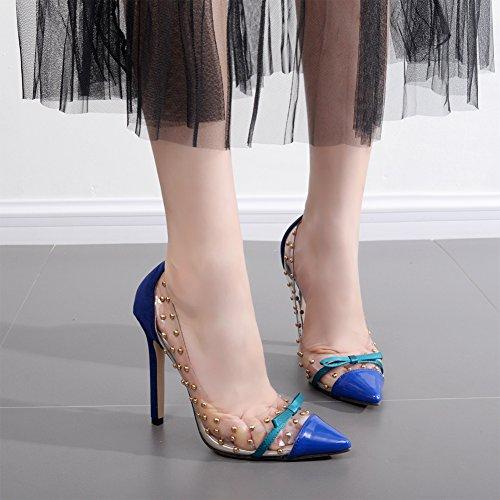 fereshte Women's Transparent Studded Bowknot Stiletto High Heels Sexy Lovely Pointed-Toe Pumps Blue fdgbSlODzZ