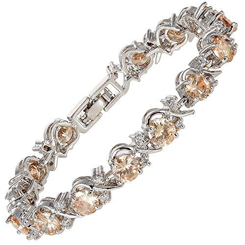 Diamond Modern Tennis Bracelet - RIZILIA Blossom Round Champagne Color Gems and White Cubic Zirconia 18K White Gold Plated Tennis Bracelet, 7
