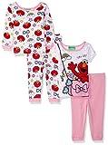Sesame Street Girls Elmo 4-Piece Cotton Pajama Set