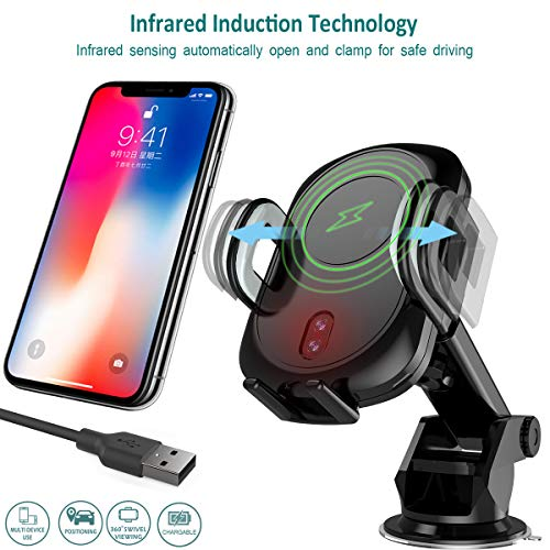 GOSETH Wireless Car Charger Mount Automatic Infrared Induction,Fast Charger Air Vent&Bracket Phone Holder Compatible iPhone Xs/XR/X/8/8 Plus,Samsung Galaxy S10e, S10, S10+,S9+,S7/S7 Edge &Qi Certified