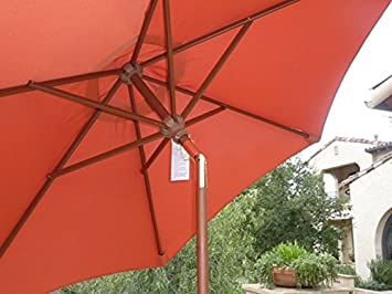 Amazon.com: 7 ft Mercado Paraguas de madera con mecanismo de ...
