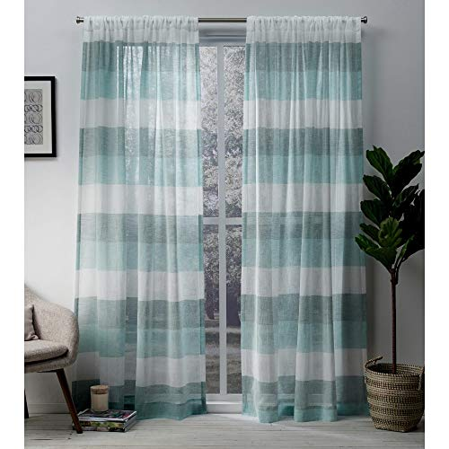 Exclusive Home Curtains Bern Stripe Sheer Window Curtain Panel Pair with Rod Pocket, 54x84, Teal, 2 Piece