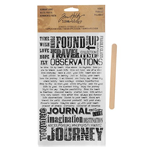 (Words Remnant Rubs by Tim Holtz Idea-ology, 5 x 7 Inches, 2 Sheets, Black/White, TH93055)