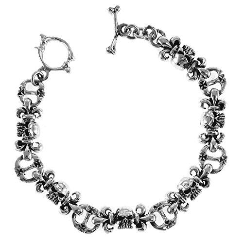 (Aleria Designs Sterling Silver Skulls and Fleur De Lis Toggle Bracelet, 7 5/8